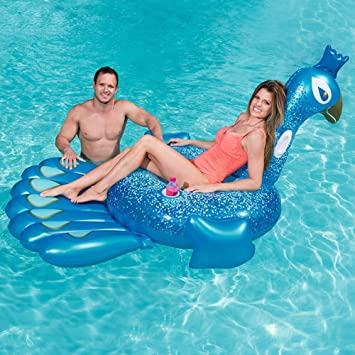 FBEST Hinchable colchonetas Piscina Pavo Real Azul Inflable ...