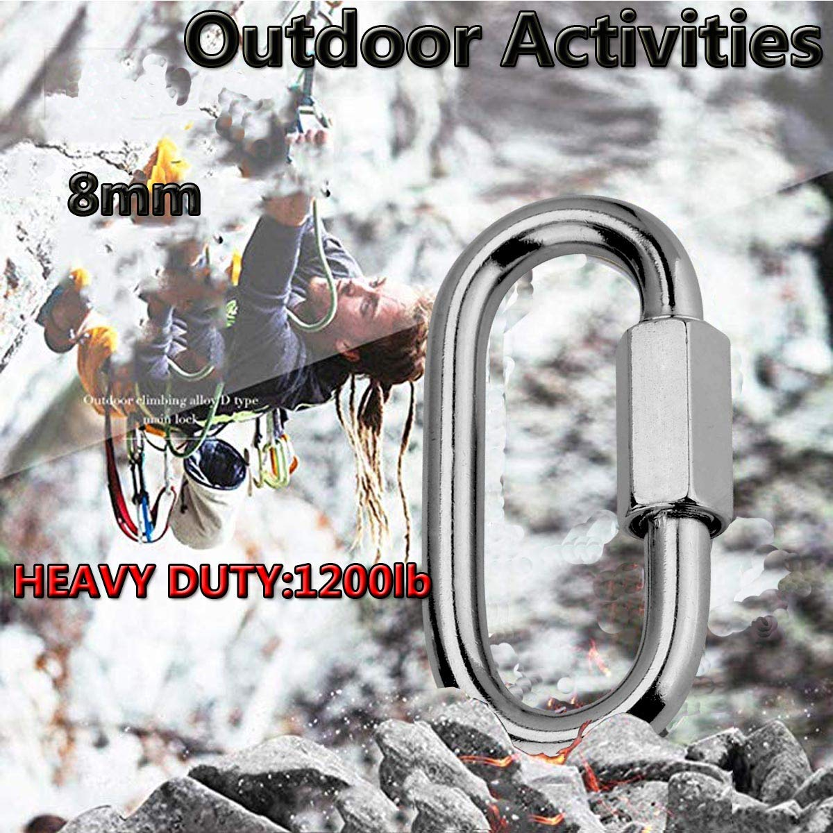 M6 15pack Lsquirrel 304 Stainless Steel D Shape Locking Carabiner Heavy Duty Repair Link Pets Keychain for Outdoor Traveling Equipment M4 M6 M8 Capacity 300lb 800lb 1200lb Quick Link
