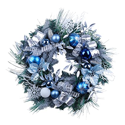 teresas collections pre lit 24 inch winter land silver and blue christmas wreath with ball - Blue Christmas Ornaments