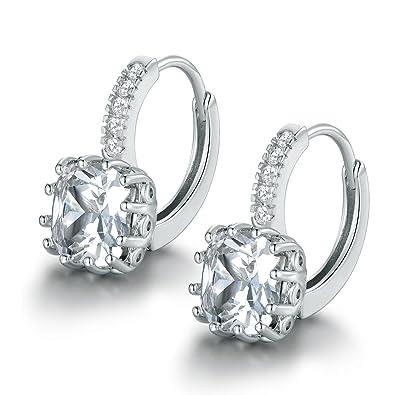 MASOP Charming Huggie Hoop Earrings for Women 925 Sterling Silver with Colorful Cushion Cut CZ Birthstone Drop xkTHwjODUM