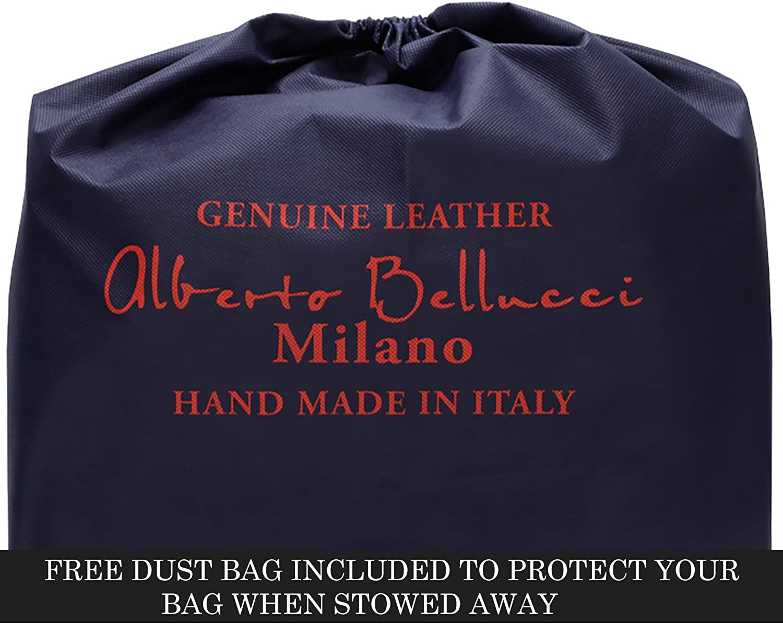 CUSTOM PERSONALIZED INITIALS ENGRAVING Alberto Bellucci Milano Italian Leather Roman Portfolio Document Bag