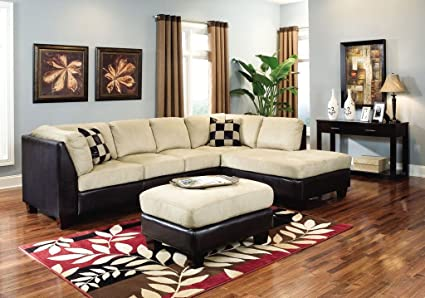 Amazon.com: Sectional Sofa Chaise Beige Microfiber Dark Brown Vinyl ...