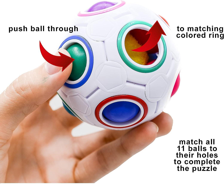Fidget Ball Rainbow Magic Puzzle Rubiks Cube Toy Autism Brain Stress Relief Gift