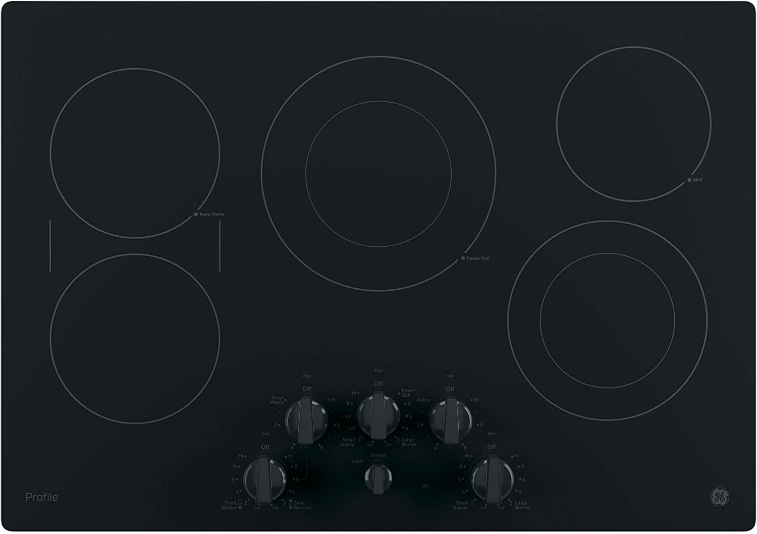 GE PP7030DJBB 30 Inch Electric Cooktop with 5 Radiant ADA Compliant Fits Guarantee Bridge SyncBurners Red LED Backlit Knobs 9//6 Inch Power Boil Element Keep Warm Setting
