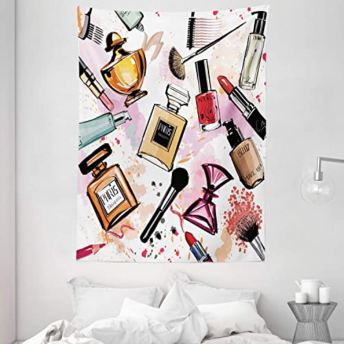 Ambesonne Fashion Tapestry, Cosmetic and Makeup Theme Pattern with Perfume Lipstick Nail Polish Brush Modern, Wall Hanging for Bedroom Living Room Dorm, 60 X 80 , Coral White