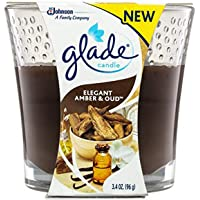 Glade Small Scented Candle, Elegant Amber & Oud, 96g