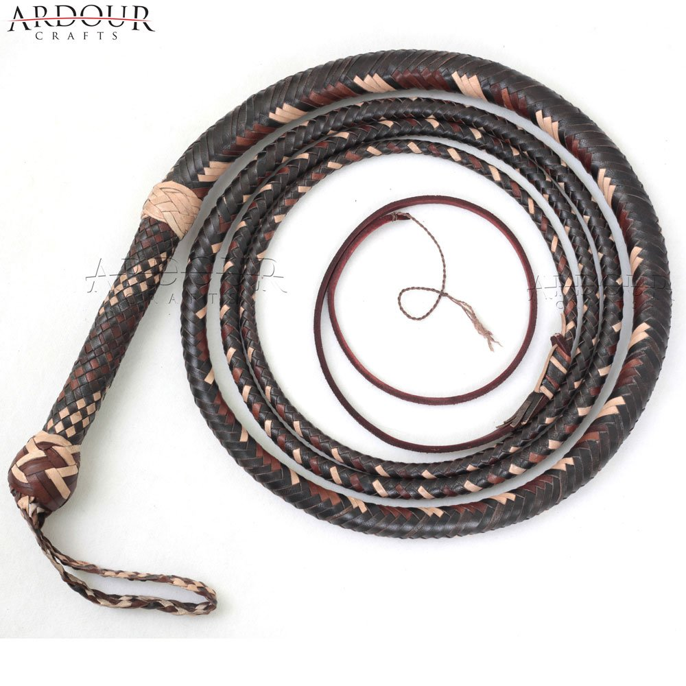 BULL WHIP 12 Feet 16 Plaits Cow Hide Leather CUSTOM BULLWHIP Belly and Bolster Construction Dark Brown by Ardour Crafts