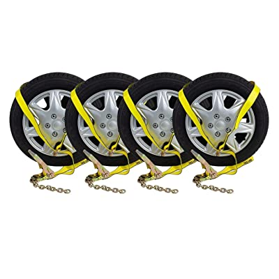 "(4 Pack) 2"" Chain Ratchets & Lasso Straps Tow Truck Wrecker Car Hauler Wheel Lift: Home Improvement"