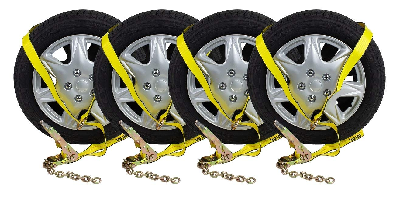 Mytee Products (4 Pack) 2'' Chain Ratchets & Lasso Straps Tow Truck Wrecker Car Hauler Wheel Lift by Mytee Products
