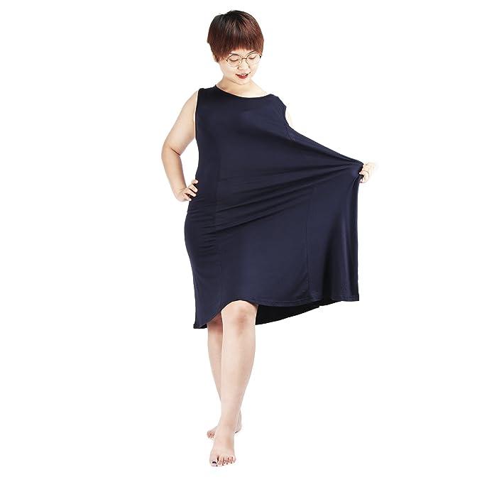 REAMIC Mujer Ropa De Dormir Largo Camisones Camisón Suelto Algodón Mujeres Vestido de Noche sin Mangas