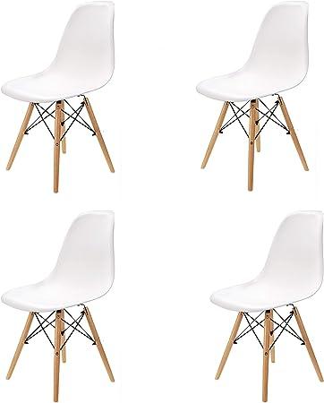 WV LeisureMaster Set di 4 Sedie da Pranzo Sedie Laterali con Gambe in Legno di Faggio e Telaio in Metallo Solido, Ideale per Sala da Pranzo,