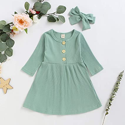 YOUNGER TREE Toddler Baby Girls Spring Clothing Solid Color Cotton Pit Irregular Skirt Winter Dress Long Sleeve Skirt Outfits