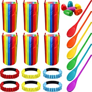 18 Pieces Outdoor Games Set, Includes Egg and Spoon Race Game Kit, 3-Legged Race Bands, Potato Sack Race Bags for Backyard Birthday Party Family Picnic Outdoor Activities