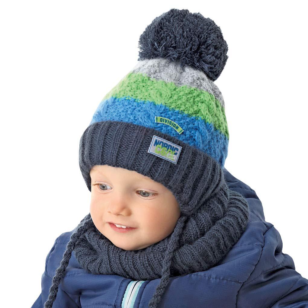 AJS Jungen Kinder Set Winterset Kindermütze Wintermütze Strickmütze gefüttert Rundschal mit Wolle ab 6 Monate bis 1, 5 Jahre
