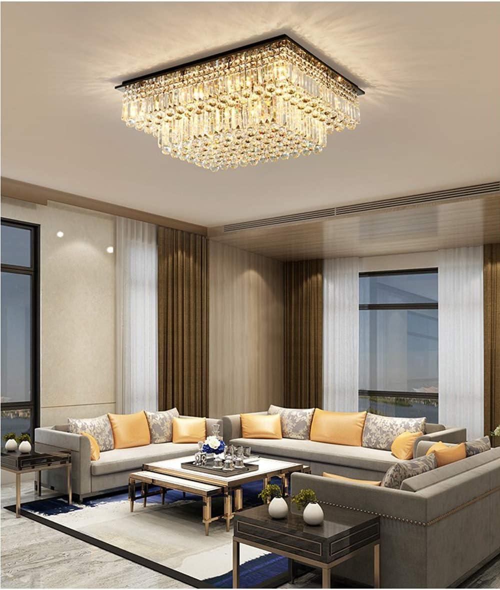 SILJOY Modern Raindrop Crystal Chandelier Lighting Rectangular Flush Mount Ceiling Light Fixture L35.4 x W 27.6 x H14