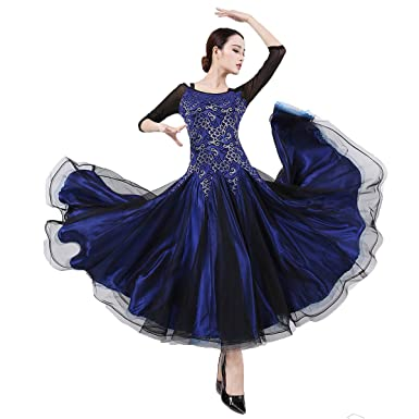 63e0ef31655 YC WELL Ballroom Dance Dress Flamenco Waltz Tango Dance Costumes for Women  (Blue