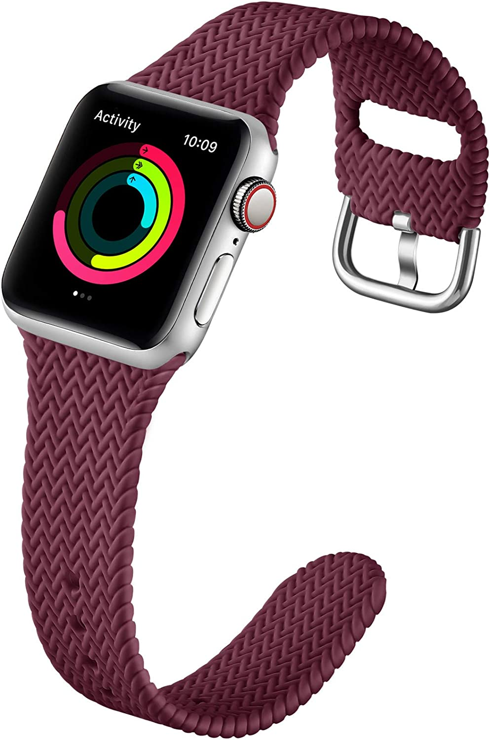 GEAK Compatible with Apple Watch Band 38mm 40mm Women Men Series 6, Comfortable Flexible Textured Weave Pattern Sport Wristband for Apple Watch SE Series 6 5 4 3 2 1, Wine Red