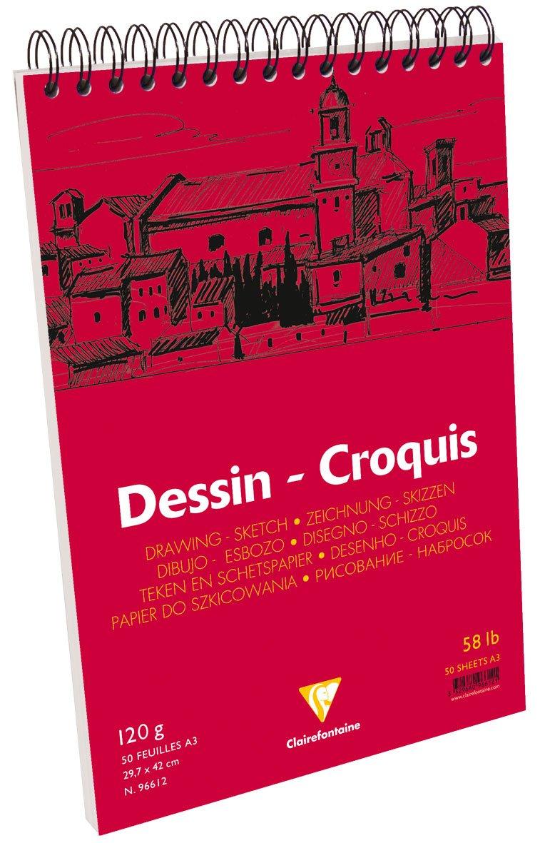wei/ß Clairefontaine 96614C Zeichenblock Croquis Doppelspiralbindung, praktisch f/ür Skizzen, DIN A4, 21x29,7cm, 50 Blatt, 125 g