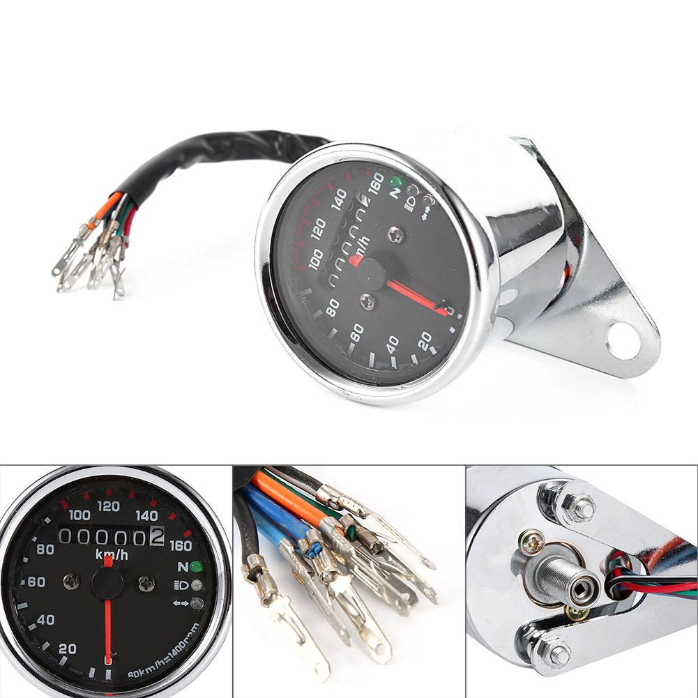 0-160km//h LED KMH Gauge Backlight Signal Light Neutral Headlight Indicator DC 12V Tacho Gauge Universal Motorcycle Dual Odometer Speedometer Gauge Silver