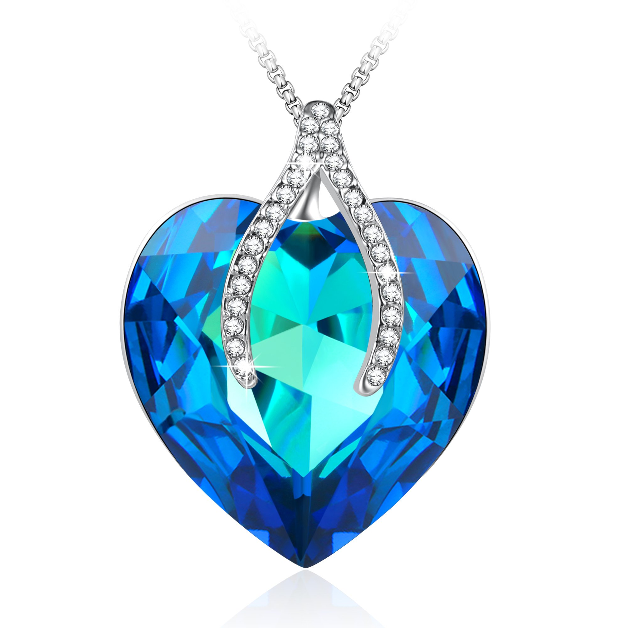 Angelady Wishbone Pendant Necklace Sapphire Jewelry Gifts for Her Best Wishes,Blue Crystal from Swarovski