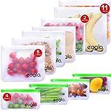 eoglo Food Grade Reusable Storage Bags (11 Pack)   2 Xlarge Gallon Size + 5 Large Sandwich Size + 4 Snack Size  Freezer…