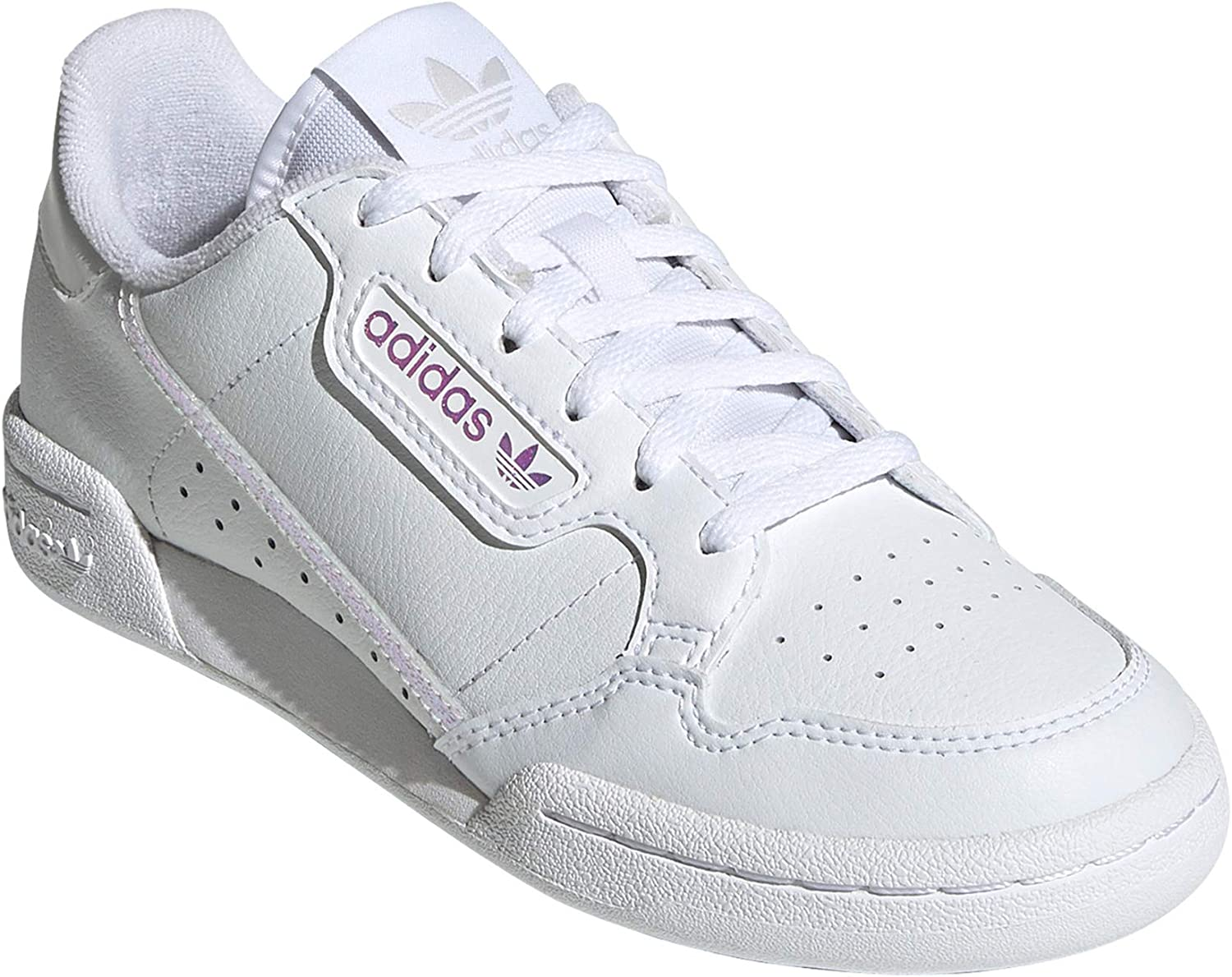 adidas Damen Continental 80 W Fitnessschuhe, Weiß. Tennis Originals Authentic Blanc Pur Détails Irisés Rose