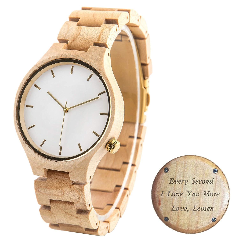 Reloj de pulsera de madera de arce con grabado gratuito, reloj de cuarzo analógico de madera, esfera redonda hipoalergénico.: Amazon.es: Relojes