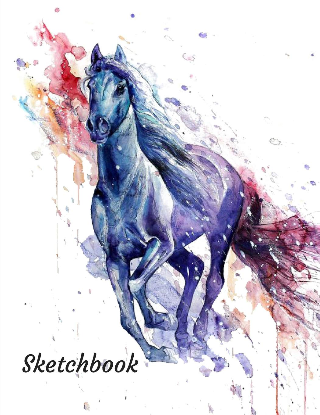 Sketchbook Painting Creative Doodling Or Sketching. A Blue Watercolor Horse Themed Personalized Artist Sketch Book Notebook and Blank Paper for Drawing