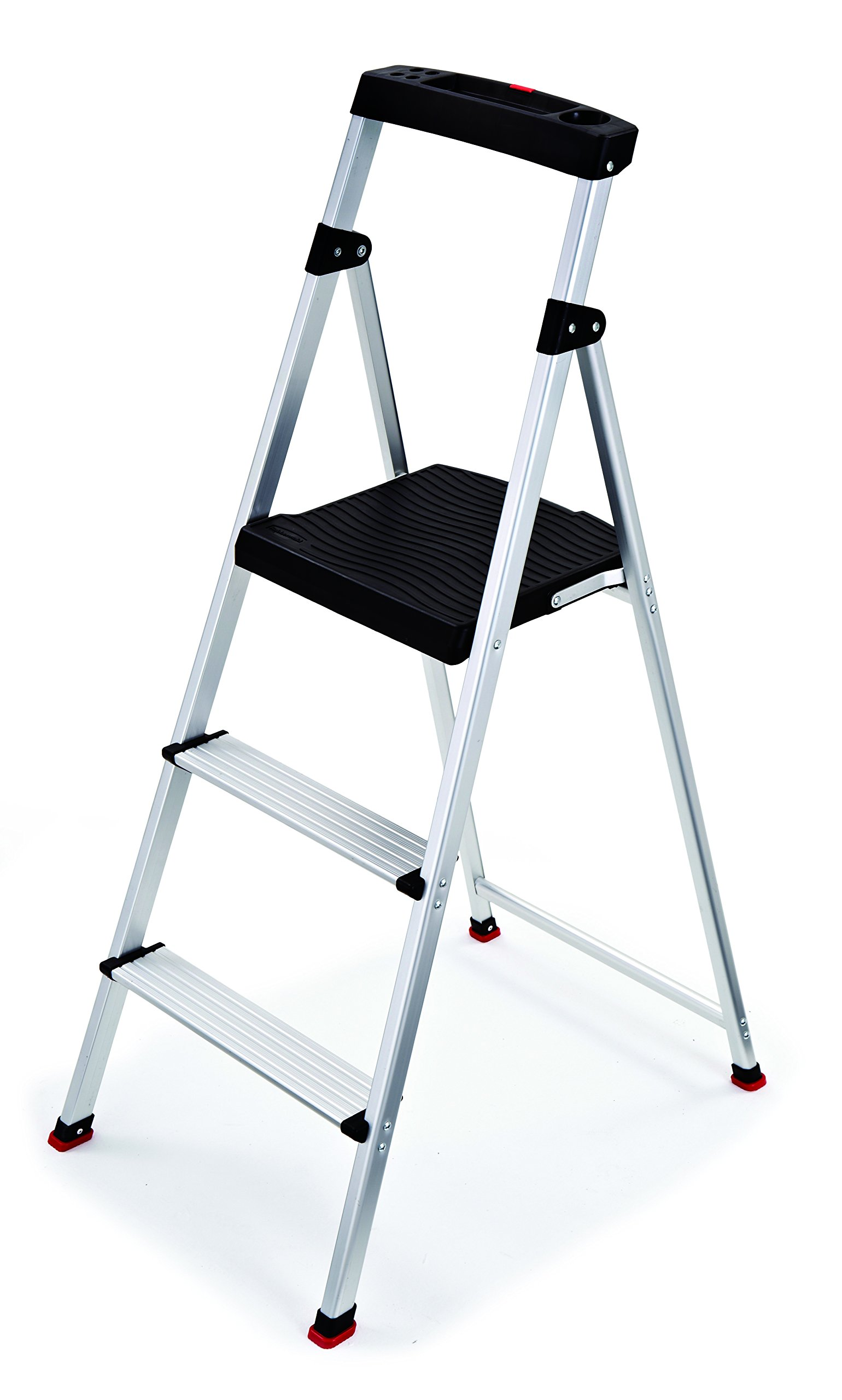 Rubbermaid RMA-3 3 Light Weight Aluminum Step Stool with Project Top, Silver