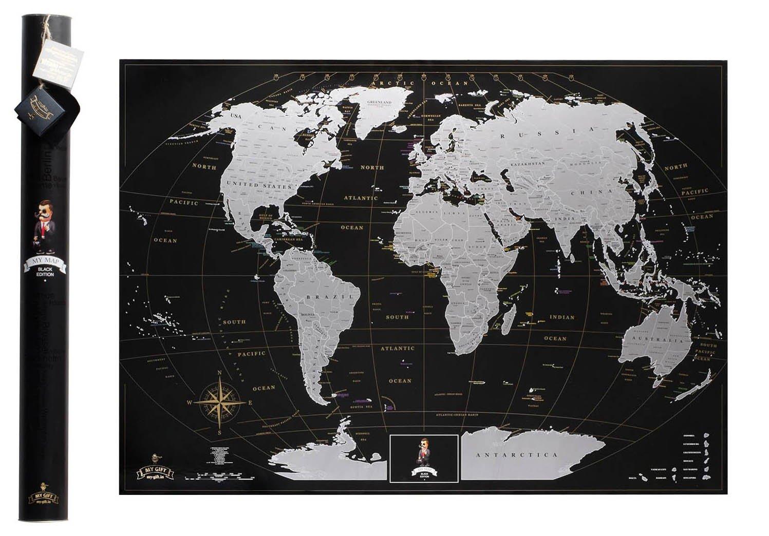 scratchable mapa del mundo - PREMIUM CALIDAD plata Deluxe Edition - Rastreador personalizado de viaje Póster - compartir y recordar su viaje más aventuras ...