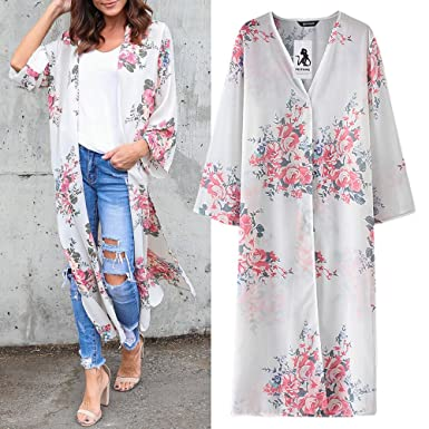 23761b48a2 Women Cardigan Print Chiffon Loose Shawl Kimono Floral Girls Boho Cardigan  Top Cover up Shirt Blouse (S, White): Amazon.co.uk: Clothing