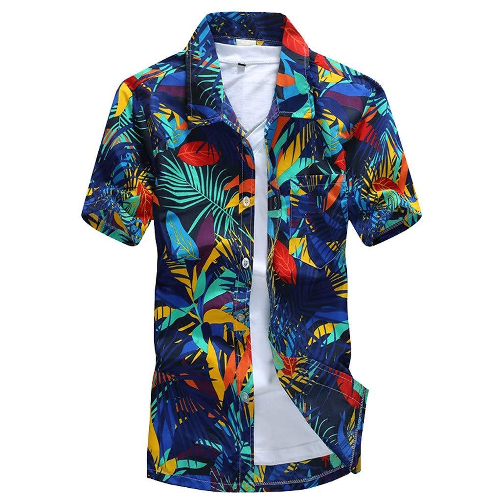 VRTUR Funky Hawaiihemd   Herren   Kurzarm   Front-Tasche   Hawaii-Print   Strand Palmen Meer   Strand T-Shit