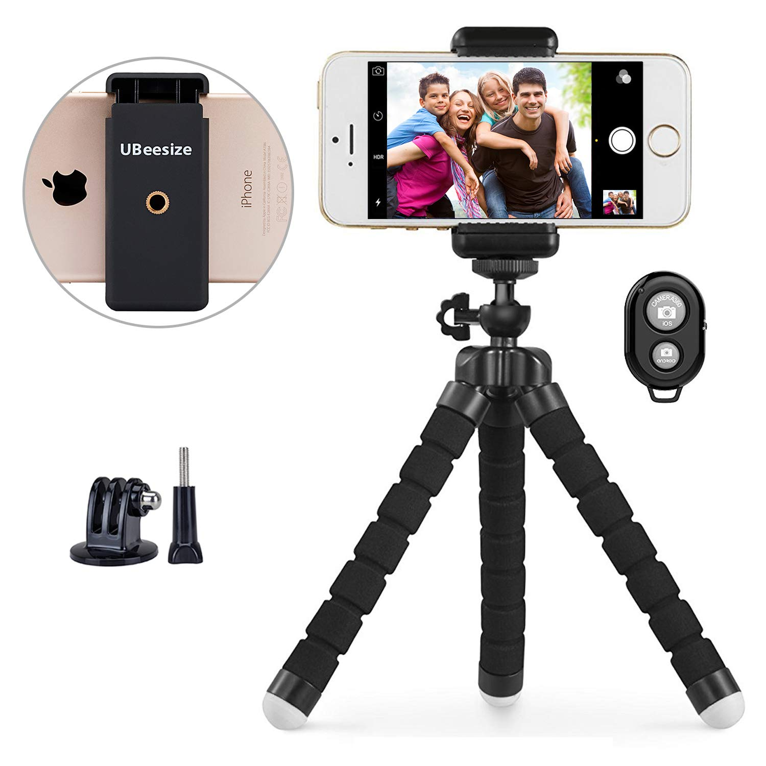 Phone Tripod, UBeesize Portable and Adjustable Camera Stand Holder with Wireless Remote and Universal Clip, Compatible with iPhone, Android Phone, Camera, Sports Camera GoPro【2018 New Version】