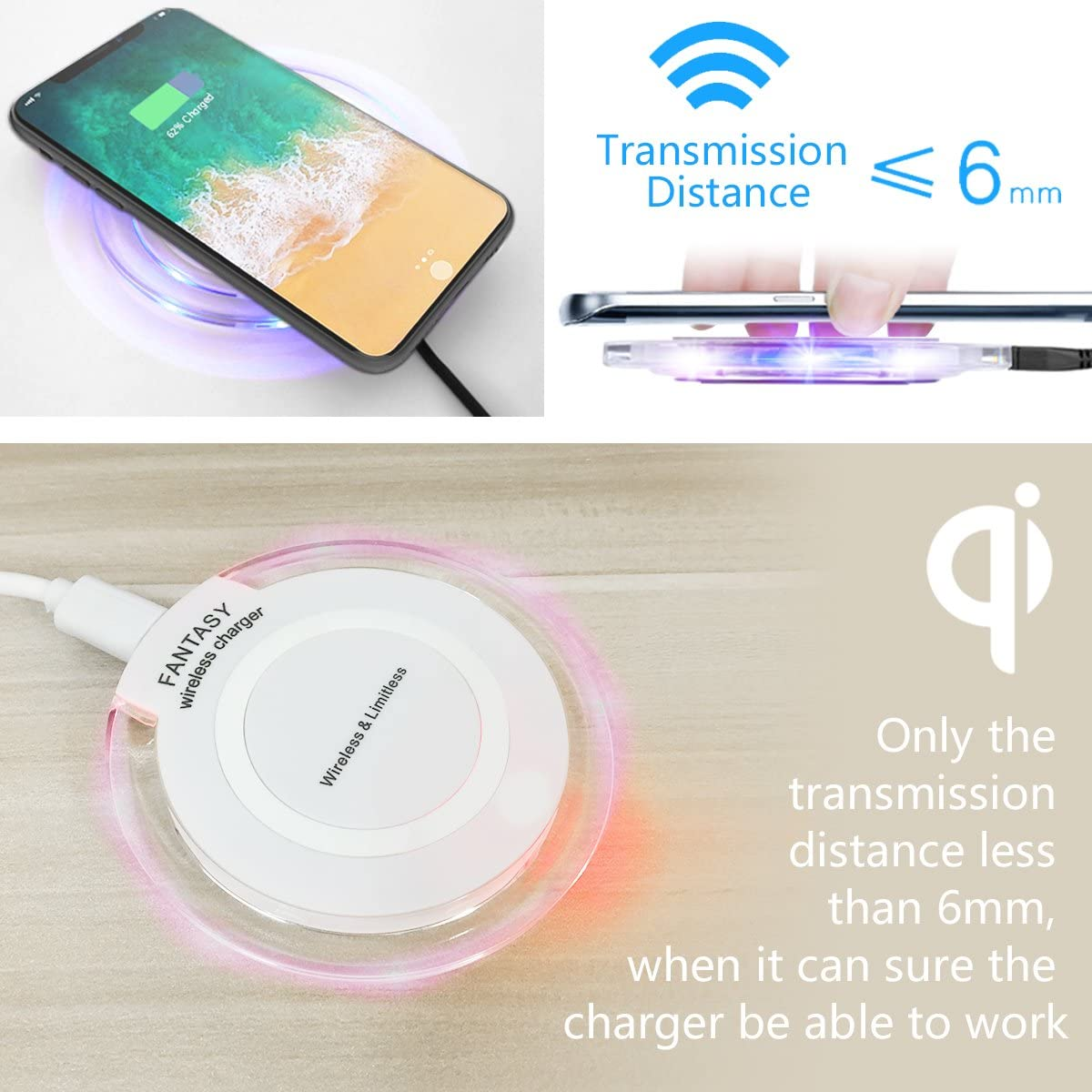 Mini Portable Cordless Wireless Charging Pad Stand Compatible for XS//XR//Max//X//8//8 Plus All Qi-Enabled Devices CC-Show Qi Wireless Charger Latest Upgraded - White Samsung Galaxy S10+//S9//Note9