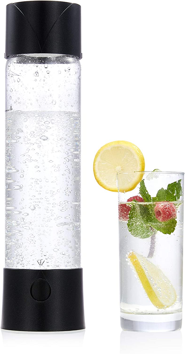 CO-Z Portable Sparkling Water Maker, 750mL Homemade Soda Pop Maker Machine, 1.6 Pint Seltzer Water Fizzy Drink and Soda Maker for Home, Handheld Water Carbonator and Carbonated Drink Maker, Black