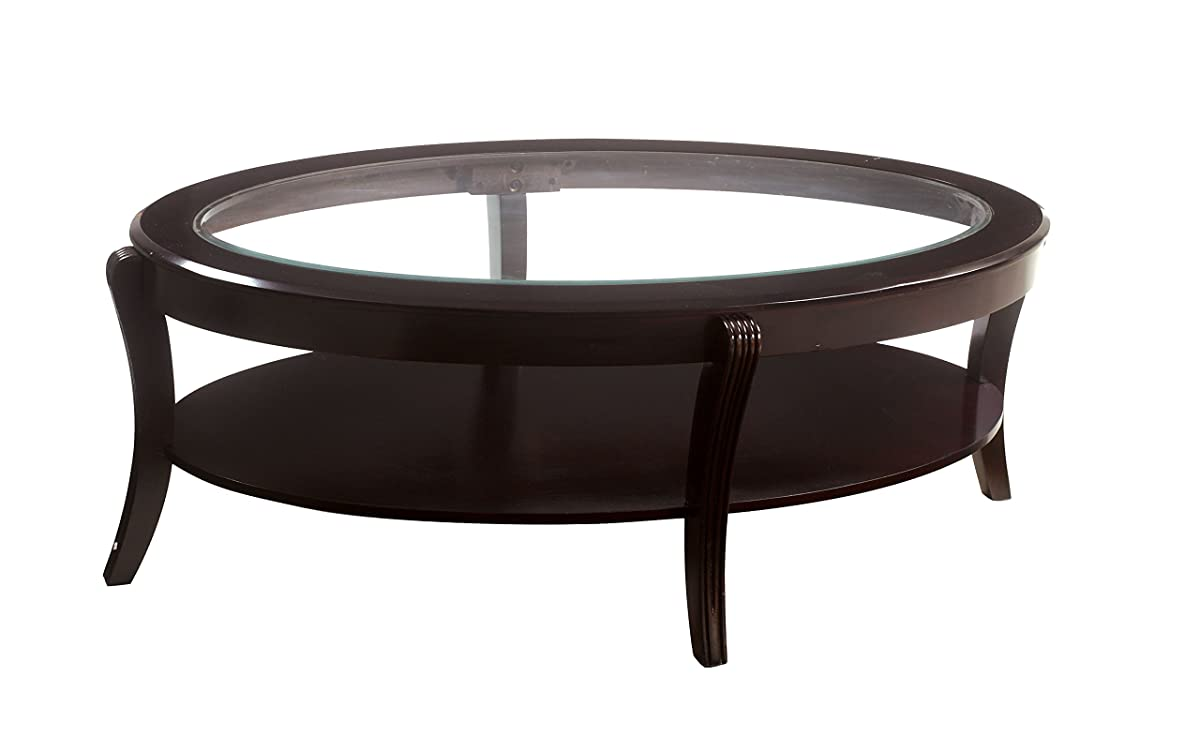 Furniture of America Astrid Contemporary Glass Top Coffee Table, Espresso