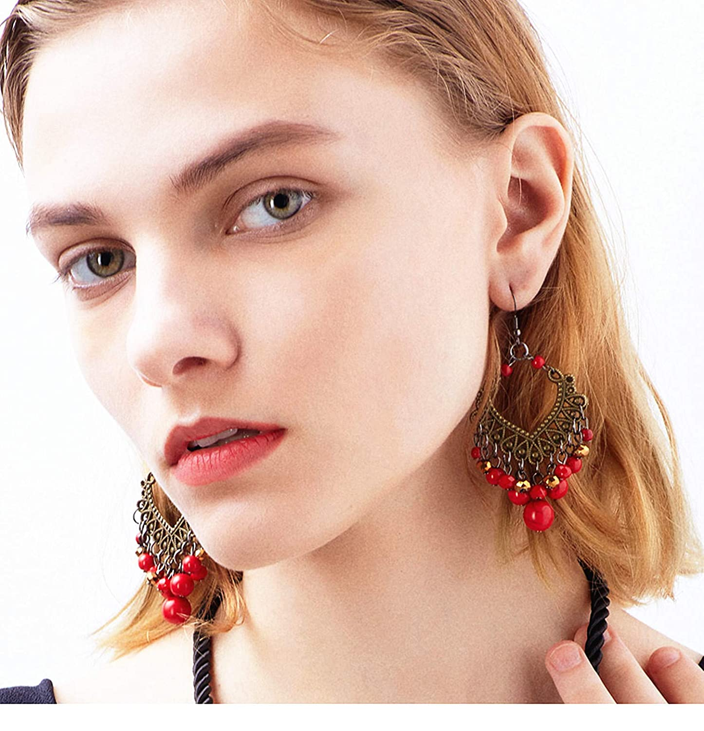 Fanvicell Handmade Alloy Beaded Dangle Earrings with Red Turquoise Bohemian Tassel Statement Earrings Fashion National Style Temperament Semi Precious Stone Jewelry for Women Girls