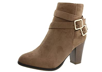 Casca-3 Womens Faux Suede Criss Cross Strap Buckle Ankle High Stacked Heel Booties