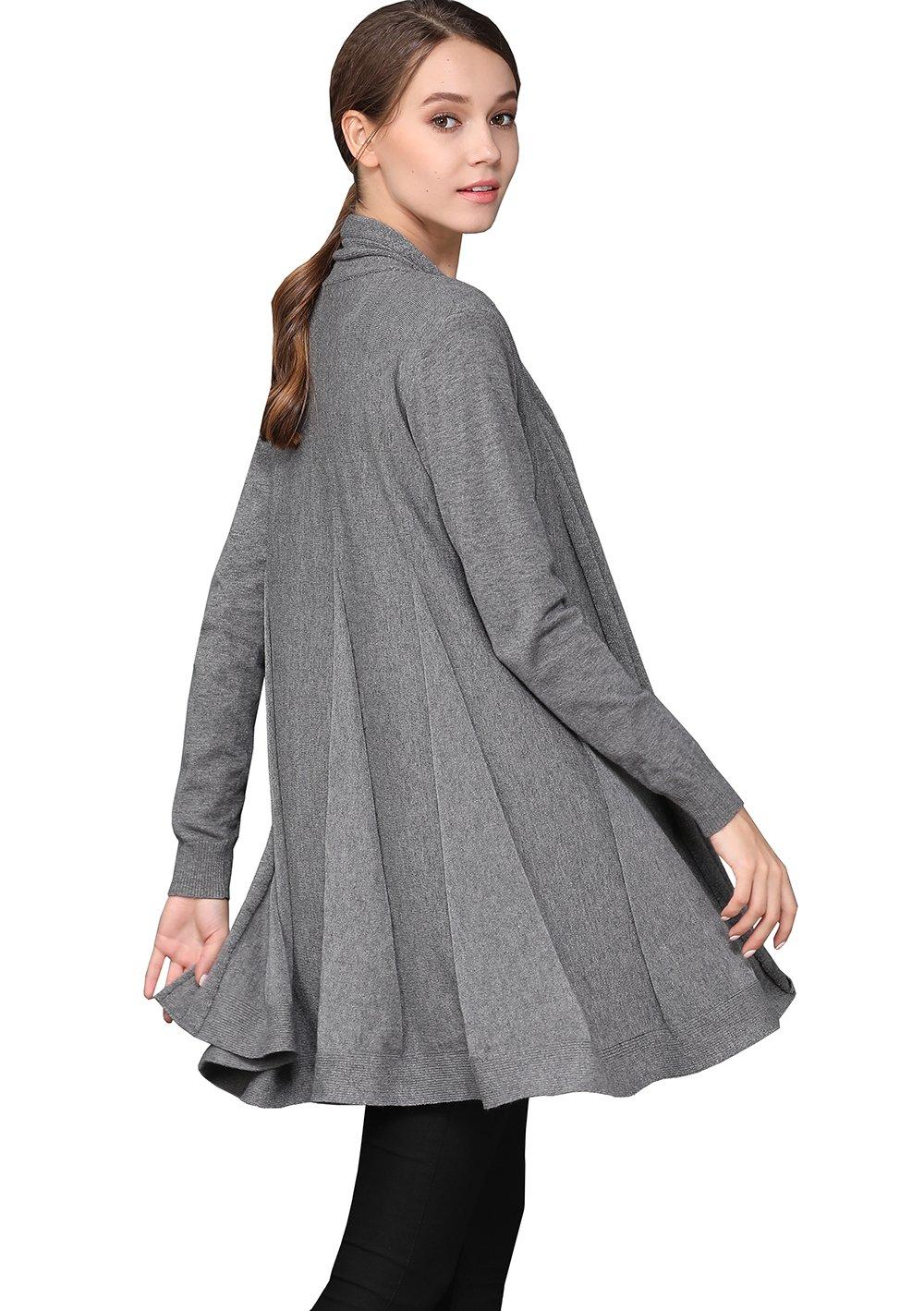 shengweiao Womens Long Sleeve Classic Knit Cardigan Sweater (Large, Dark Grey) by shengweiao (Image #4)