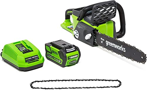 Greenworks 16-Inch 40V Cordless Chainsaw with Extra Chain, 4AH Battery and a Charger Included 20312