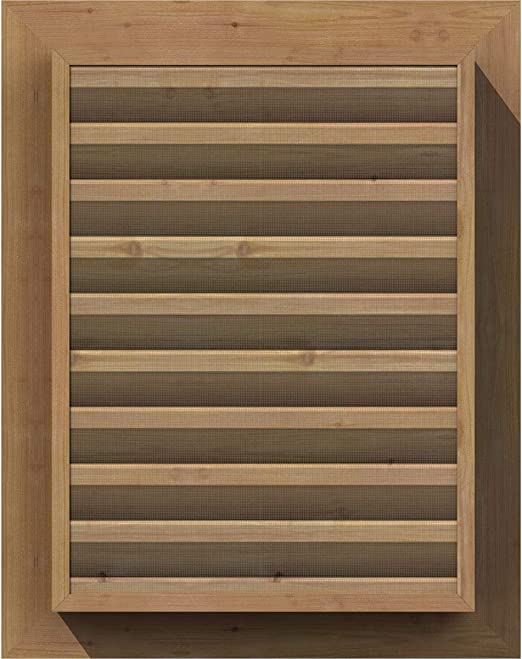 Smooth Western Red Cedar 20 Width x 28 Height Vertical Gable Vent with Decorative Face Frame Decorative Ekena Millwork GVWVE20X2802SDUWR Unfinished