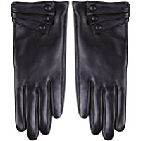 Nappaglo Nappa Leather Gloves Warm Lining Winter Button Decoration Lambskin for Women