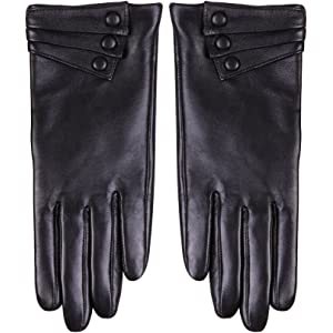 fc2c9e361 Nappaglo Nappa Leather Gloves Warm Lining Winter Button Decoration Lambskin  for Women