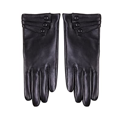 c09faf76bdf5f Nappaglo Nappa Leather Gloves Warm Lining Winter Button Decoration Imported  Leather Lambskin Gloves for Women (