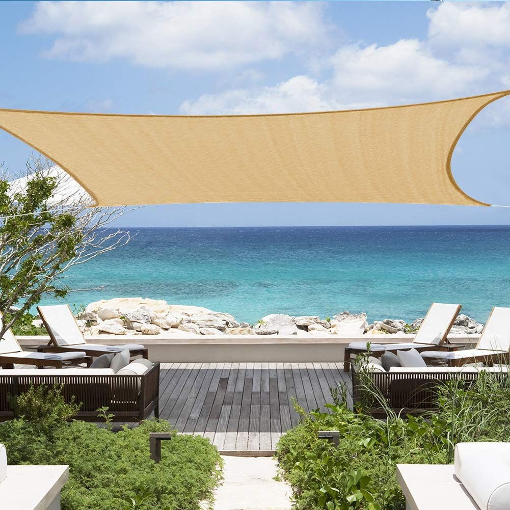 Shade&Beyond Sun Canopy Shade Sail 12'x16' Rectangle UV Block for Patio Deck Yard and Outdoor Activities Sand by Shade&Beyond
