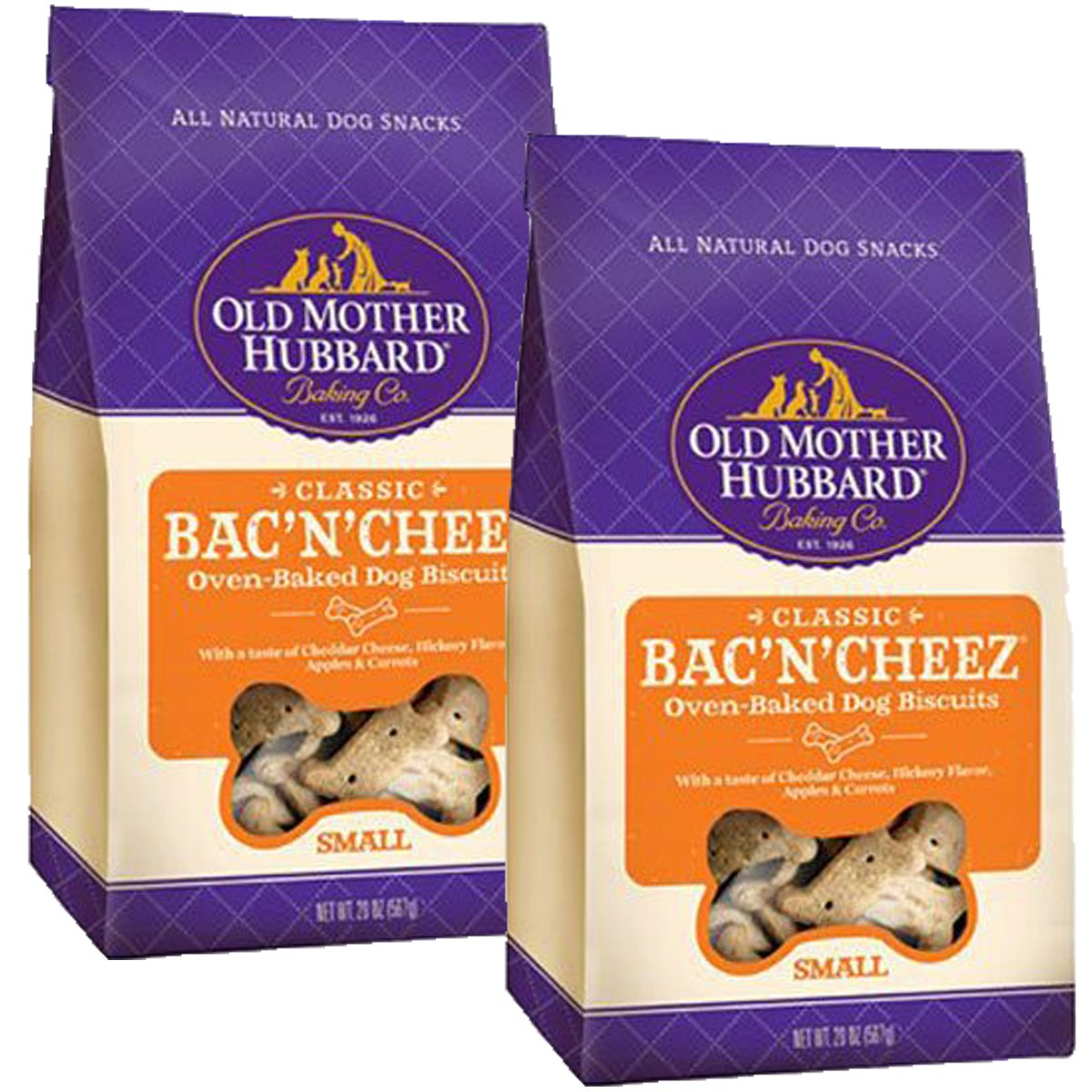 Old Mother Hubbard Classic Crunchy Natural Dog Treats, Bac'N'Cheez Small Biscuits, 20-Ounce Bag, Small Biscuits, 20-Ounce, 2 Bags