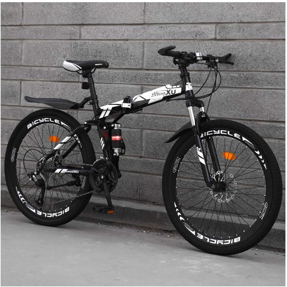 YCHBOS Bicicleta de Montaña Adulto de 24/26 Pulgadas con Suspensión Completa, Hombre y Mujer MTB Plegable con Asiento Ajustable, Marco de Acero de Alto Carbono, 27-Stage ShiftC-26 Inch