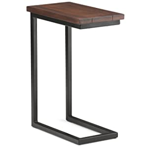 Simpli Home 3AXCSKY-09 Skyler Solid Mango Wood and Metal Modern Industrial C Side Table in Dark Cognac Brown