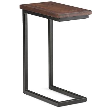 Simpli Home Skyler Solid Mango Wood & Metal C Side Table, Dark Cognac Brown