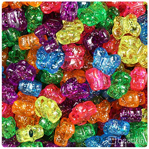 Glitter Butterfly Plastic - BeadTin Jelly Mix Sparkle 13mm Butterfly Pony Beads (250pcs)